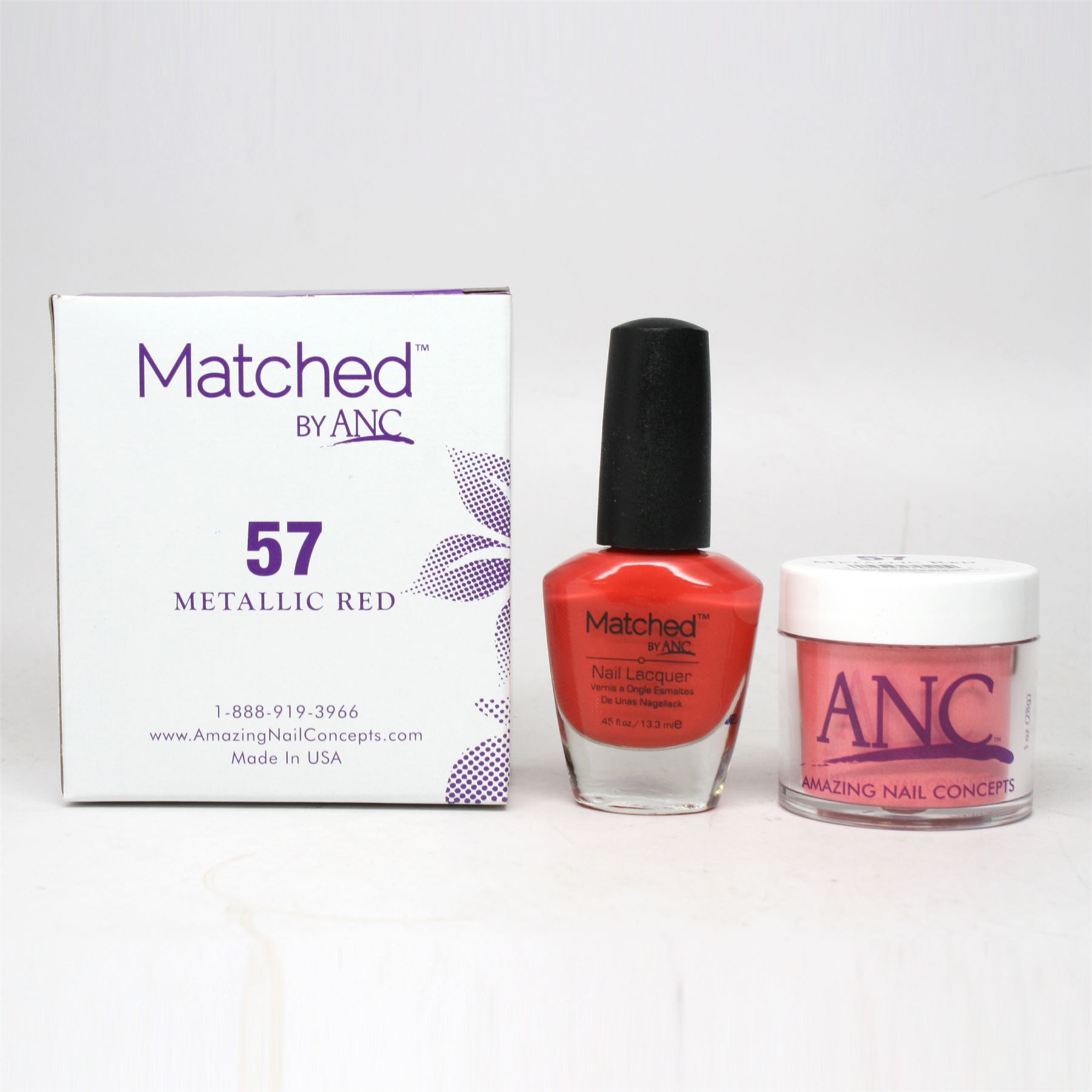 ANC Amazing Nail Concepts Matched Kit # 57 Metallic Red