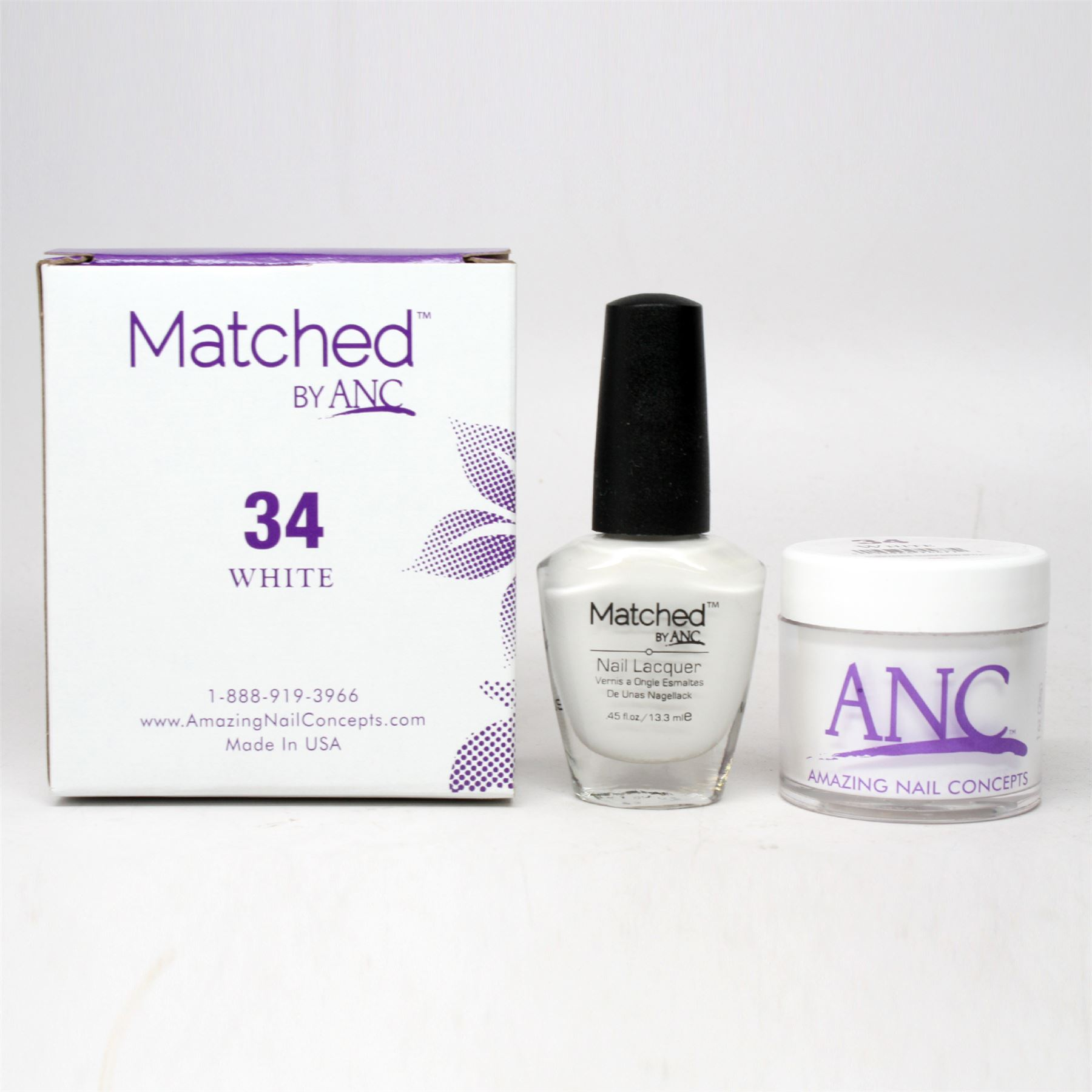 ANC Amazing Nail Concepts Matched Kit # 34 White