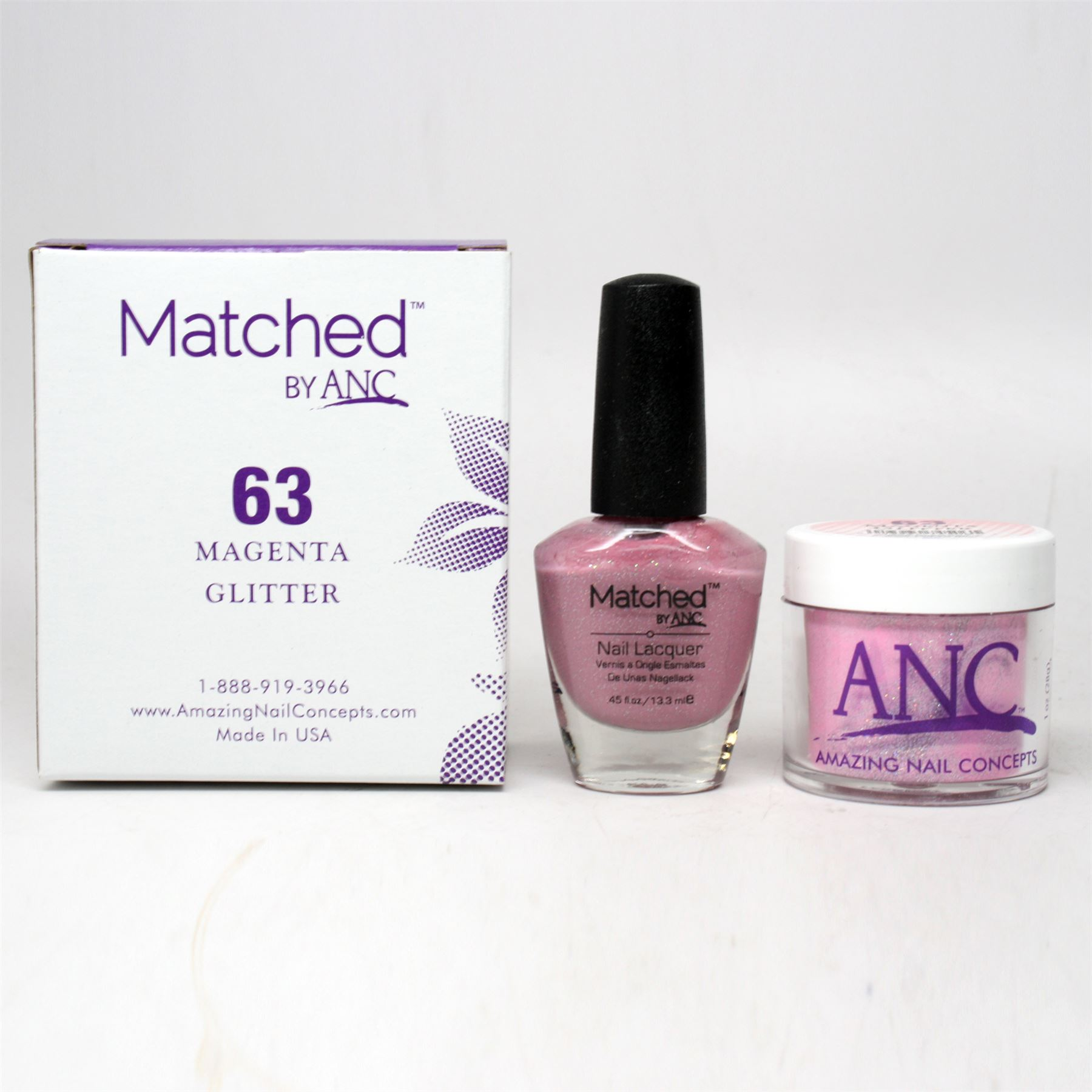 ANC Amazing Nail Concepts Matched Kit # 63 Magenta Glitter